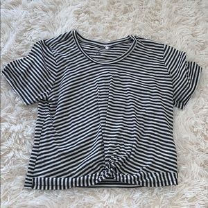 black and white striped me to we crop tee